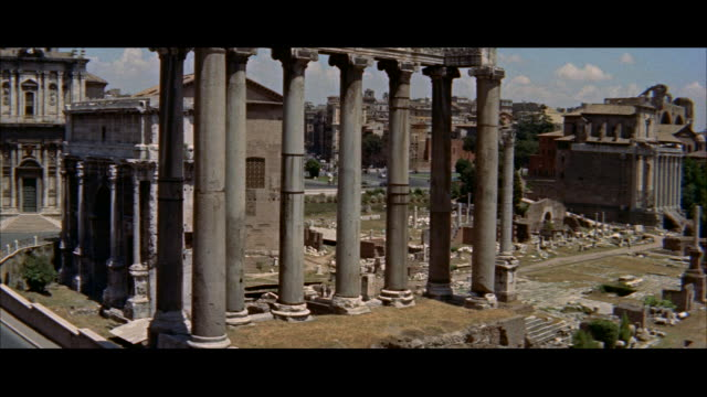 ms pan ruins of roman forum / rome, italy - anno 1956 video stock e b–roll