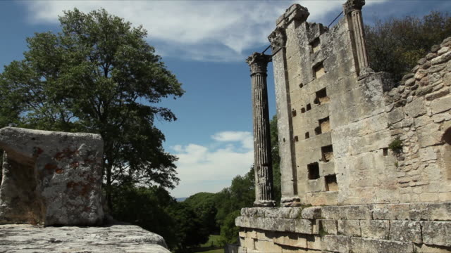 ms ruins of roman temple / chateau bas, vernegues, france - provence alpes cote d'azur stock videos & royalty-free footage