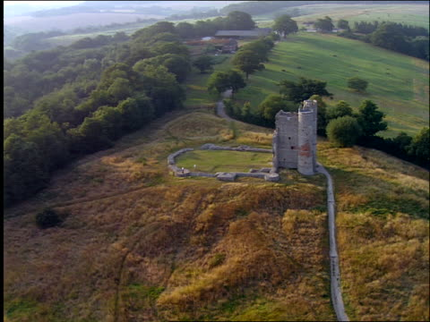 aerial ruins of small castle / donnington, newbury, berkshire, england - newbury england stock videos and b-roll footage
