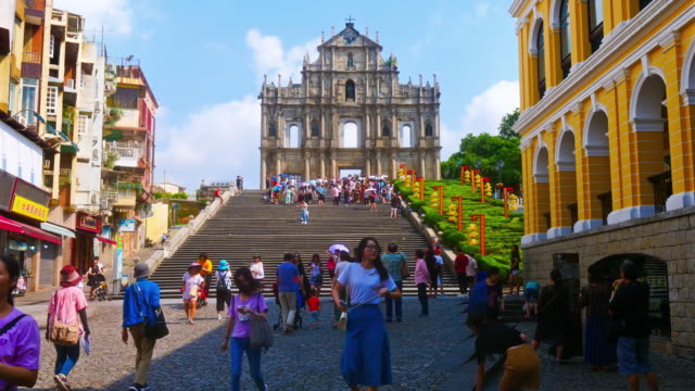Ruins of St paul church landmark in macau city