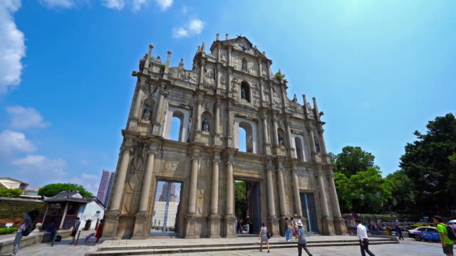 ruins of st paul church landmark in macau city - unesco stock videos & royalty-free footage