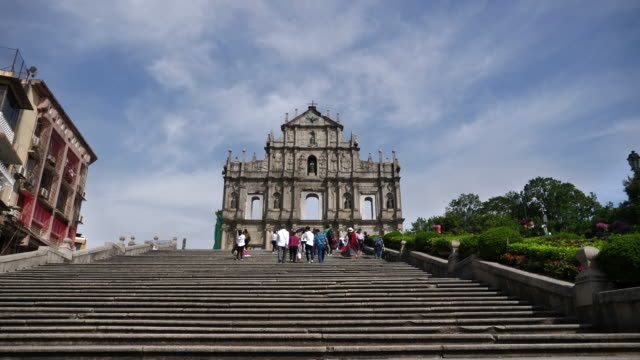 ruins of st.paul's church in macau city - ruins of st. paul's macao stock videos & royalty-free footage