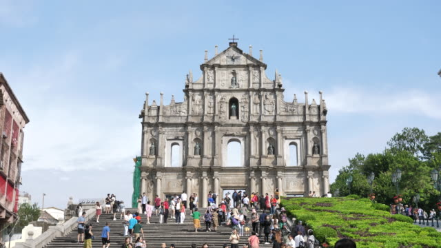 ruins of st.paul's church in macau city - macao stock videos & royalty-free footage