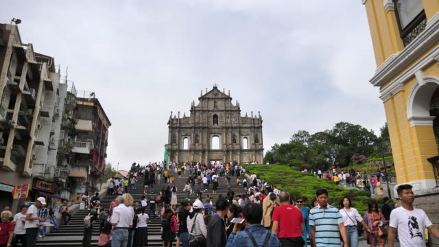 ruins of st.paul's church in macau - unesco stock videos & royalty-free footage
