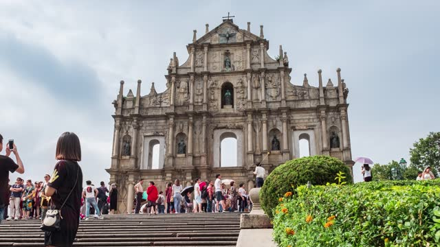 ruins of st.paul's historic centre of unesco world heritage in senado square at macau - macao stock videos & royalty-free footage