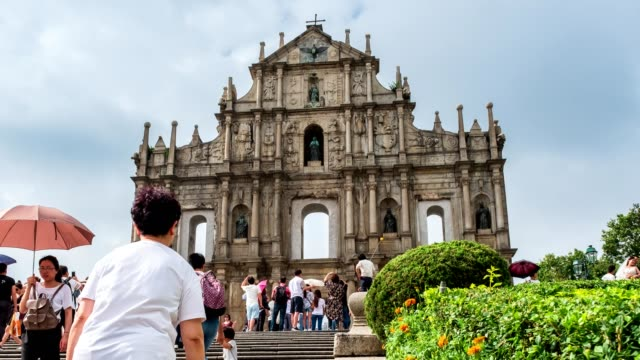 Ruins of St.paul's historic centre of UNESCO world heritage in Senado square at Macau
