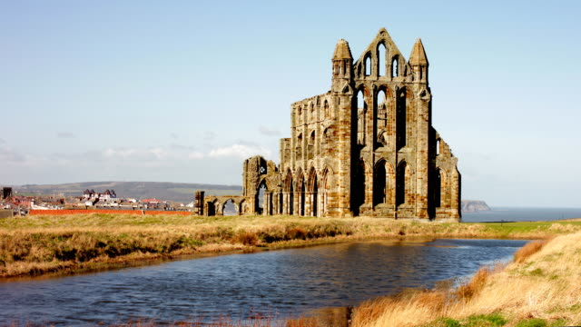 ruins of whitby abbey - yorkshire england stock videos & royalty-free footage
