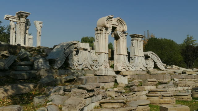 ruins of yuanming yuan, beijing, china - summer palace beijing stock videos & royalty-free footage