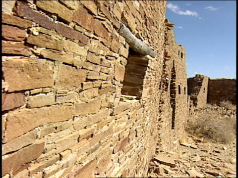 ruins rise from the desert of chaco canyon's penasco blanco. - chaco canyon stock videos & royalty-free footage