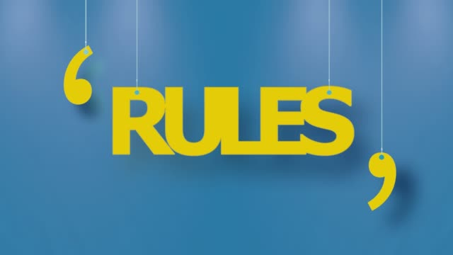 rules text in yellow hanged with strings on blue background in 4k resolution - simplicity stock videos & royalty-free footage