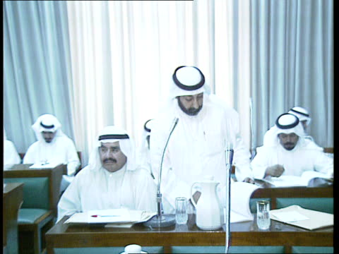 kuwait city nat council building cms minister of justice sheikh ahmed alsabah along with others into nat council building amp chats track forward cms... - regierungsgebäude stock-videos und b-roll-filmmaterial