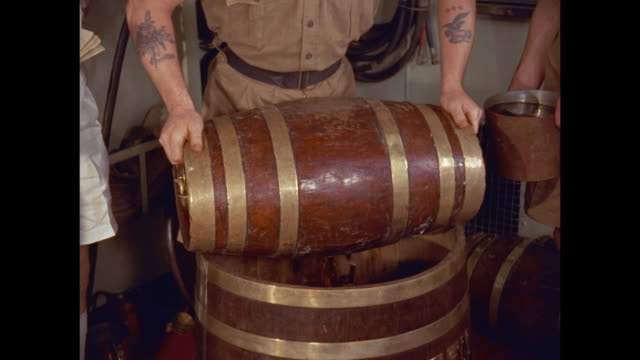 rum ration prepared on aircraft carrier hms victorious - rum stock videos and b-roll footage