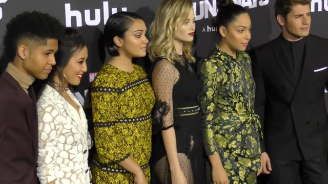 'runaways' cast at the premiere of hulu's 'marvel's runaways' on november 16 2017 in los angeles california - ever carradine stock videos & royalty-free footage