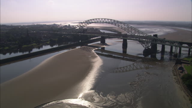 runcorn and widnes bridge - bridge built structure stock videos & royalty-free footage