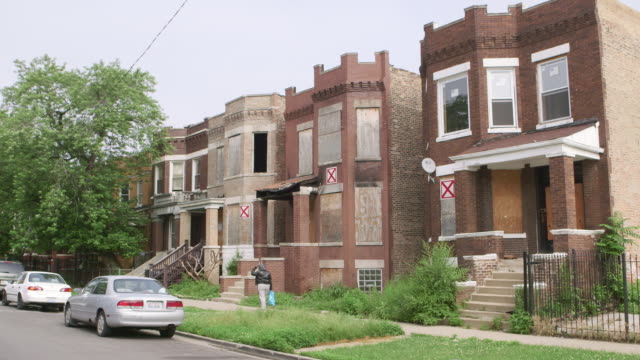 ws run-down abandoned apartment buildings day - run down stock videos & royalty-free footage