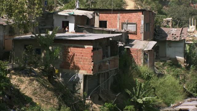 ws td run-down homes and shacks in hills of federico quiroz / metropolitan district of caracas, miranda, venezuela - caracas stock videos & royalty-free footage