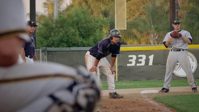 ms tu slo mo runner at 3rd runs home slides umpire calls safe / riverside, california, united states - referee stock videos & royalty-free footage