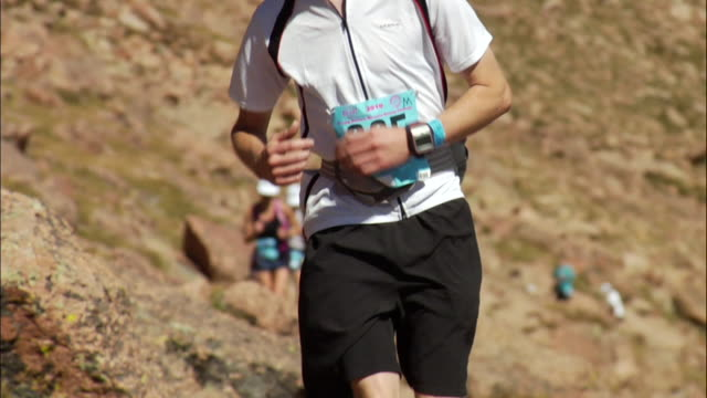 MS CU Runner comes towards on camera and out of focus during on race / Colorado Springs/ Pikes Peak,CO,USA