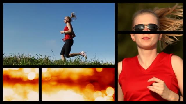 vídeos y material grabado en eventos de stock de runner in the park. splits creen - corredora de footing