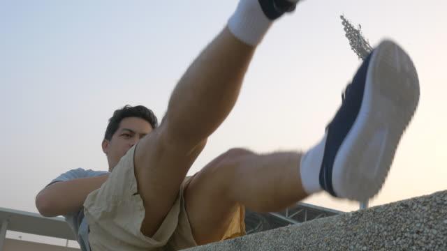 runner Man stretching his legs