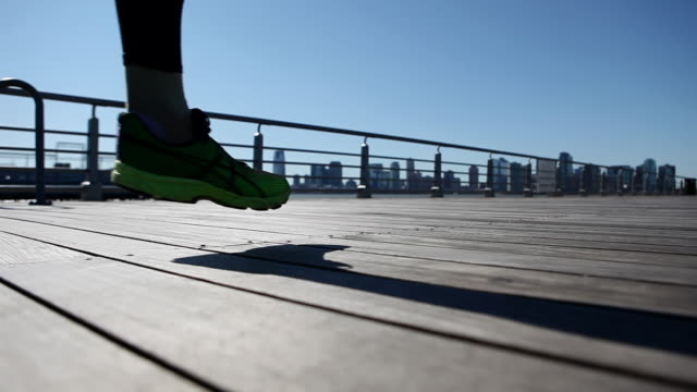 Runner on boardwalk