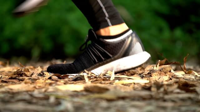 vídeos de stock, filmes e b-roll de etapas de corredor slomo ecu na folhagem de folha - extreme close up