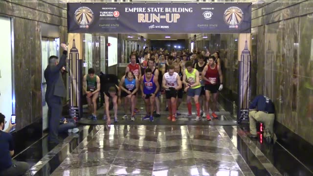 Runners compete in the 41st annual Empire State Building RunUp sponsored by Turkish Airlines on February 07 2018 in New York City Interviews with...