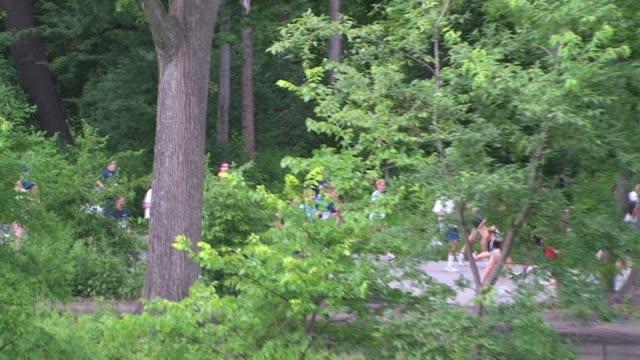 vídeos de stock e filmes b-roll de runners in central park, nyc through trees runners in central park nyc through trees on july 15, 2011 in new york city, ny - salmini