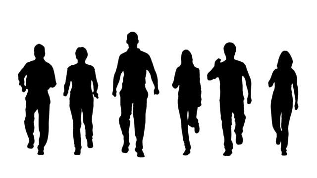 stockvideo's en b-roll-footage met runners - silhouet