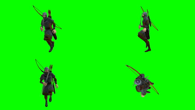 running archer green screen (loopable) - longbow stock videos and b-roll footage