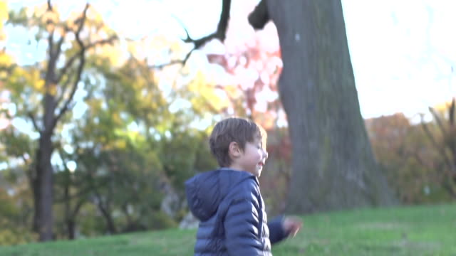 stockvideo's en b-roll-footage met running behind young boy in the park in slo motion - ski jack