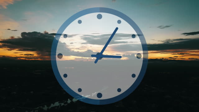 running clock with pedestrian fly sunset view. - clock hand stock videos & royalty-free footage