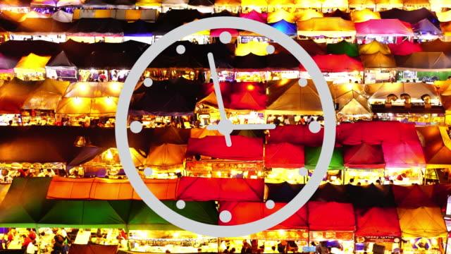 running clock with pedestrian night market - pinball machine stock videos & royalty-free footage