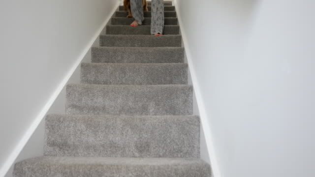 running downstairs - steps and staircases stock videos & royalty-free footage
