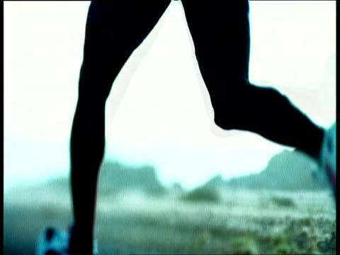 running feet of female jogger - sports shoe stock videos & royalty-free footage