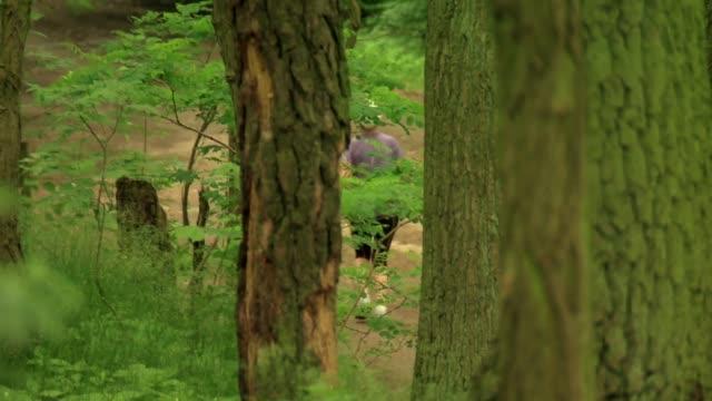 running in forest - 小枝点の映像素材/bロール