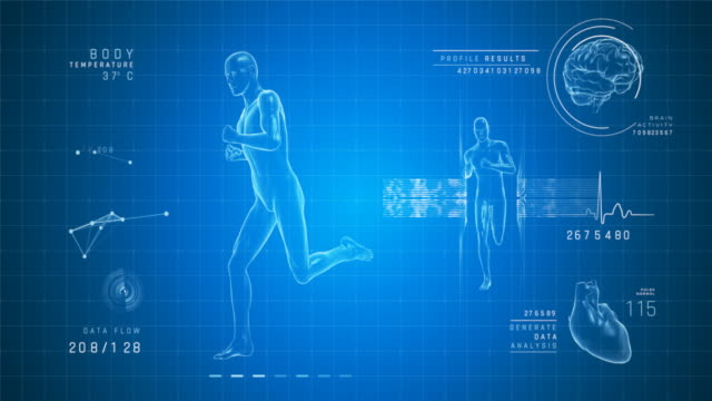 running man - digital interface | loopable - 4k - the human body stock videos & royalty-free footage