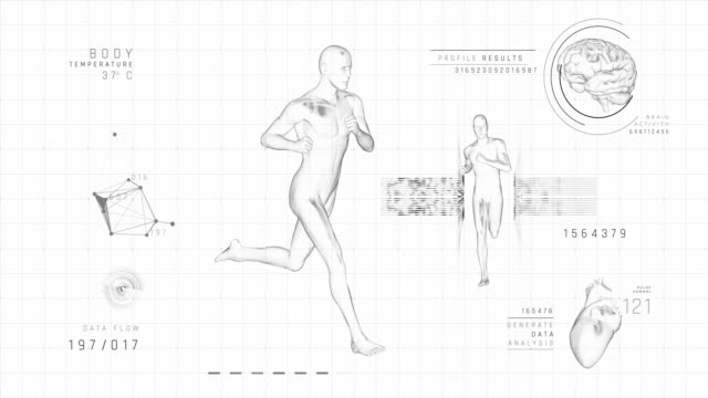 running man - digital interface | loopable - 4k - anatomy stock videos & royalty-free footage