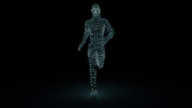 running particle man loop - strength stock videos & royalty-free footage