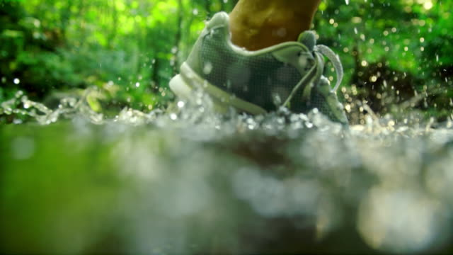 slo mo running shoe splashing into the river - forest stock videos & royalty-free footage