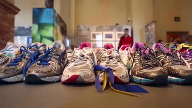 messages from the marathon memorial' in the boston public library to commemorate the 2013 boston marathon bombings on april 14 2014 in boston... - back bay stock-videos und b-roll-filmmaterial