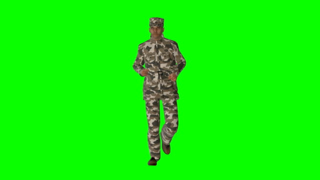 Running Soldier Green Screen (Loopable)