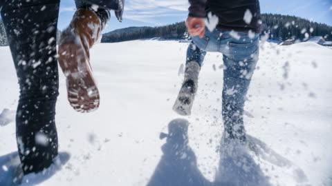 running through snow - winter stock videos & royalty-free footage