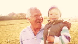 Running through the field with my grandpa