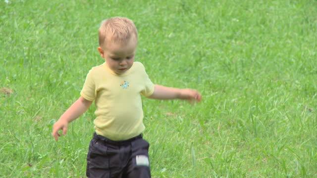 vídeos de stock e filmes b-roll de carrinho de hd: running criança pequena - só um bebé menino