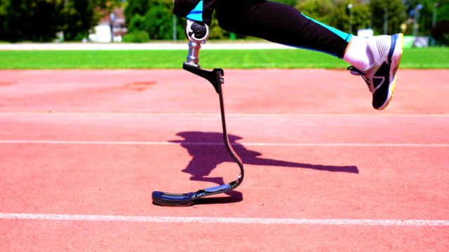 running with prosthetic leg. - prosthetic equipment stock videos & royalty-free footage