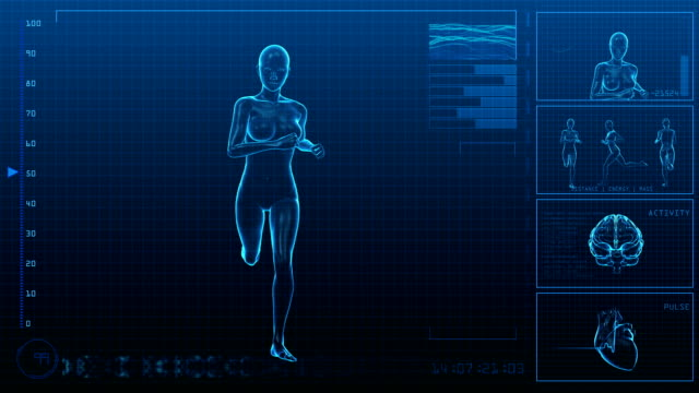 running woman | digital interface | loopable - anatomy stock videos & royalty-free footage