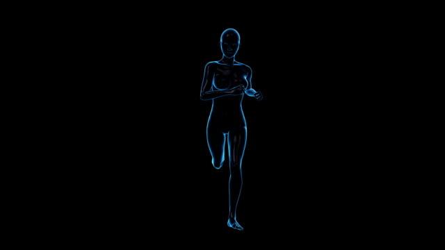 vídeos de stock, filmes e b-roll de corrida mulher/vista frontal/circulares - membro parte do corpo