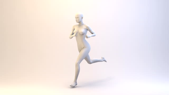 3d running woman | loopable - three dimensional stock videos & royalty-free footage
