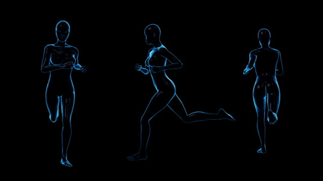 running woman | three view | loopable - anatomy stock videos & royalty-free footage